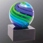 2 Tone Blue/Green Sphere Art Glass Art Glass Sculptures