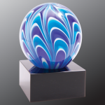 2 Tone Blue/White Sphere Art Glass Art Glass Sculptures