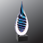 Blue/White/Black Twist Raindrop Art Glass Art Glass Sculptures