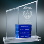 Crystal Perpetual Stand-up with Four Blue Blocks Clear Optical Crystal Awards