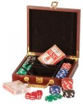 Rosewood Piano Finish Poker Set Game Gifts