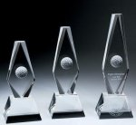 Golf Ball Diamond Trophy Crystal Award Golf Glass and Crystal Awards