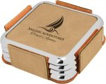 Leatherette Square Coaster Set with Silver Edge -Light Brown  Kitchen Gifts