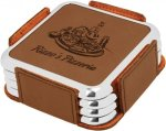 Leatherette Square Coaster Set with Silver Edge -Dark Brown Misc. Gift Awards