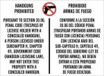 Texas 30.06 No Concealed Fire Arms Allowed (Aluminum) Office Signs