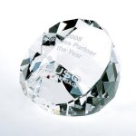 Duet Round Paperweight- Clear Paper Weight Crystal Awards