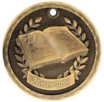 3-D Medal -Honor Roll  Scholastic Trophy Awards