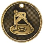 3-D Medal -Wrestling Wrestling Trophy Awards